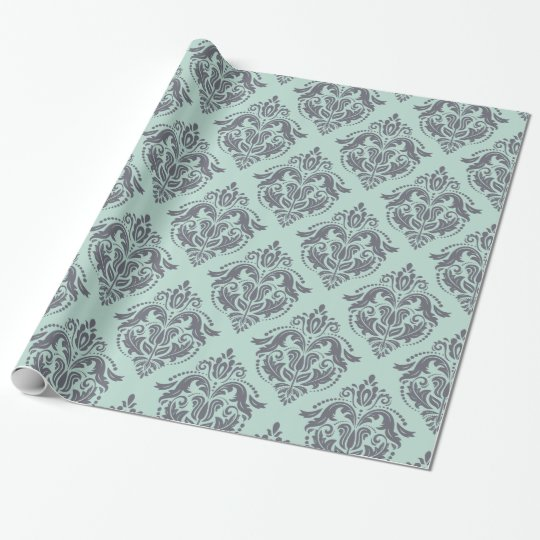 Grey & Light Green Floral Damasks Wrapping Paper