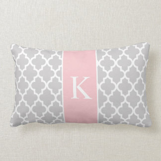 Grey Light Pink Moroccan Custom Monogram Lumbar Cushion