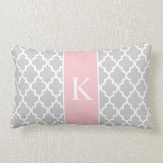 Grey Light Pink Moroccan Custom Monogram Throw Cushions