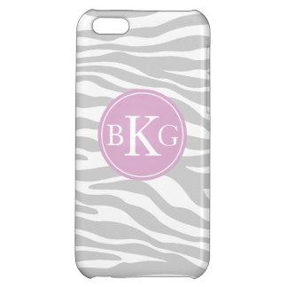 Grey & Lilac Animal Print Custom Monogram iPhone 5C Covers