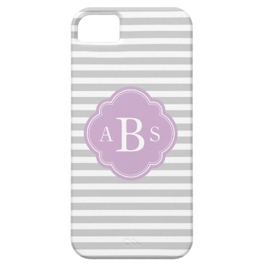 Grey & Lilac Purple Skinny Stripes Custom Monogram Case For The iPhone 5