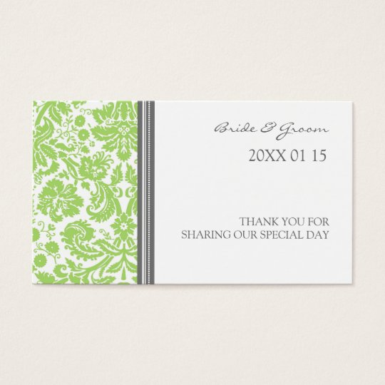 Grey Lime Damask Wedding Favour Tags