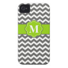 Grey Lime Green Chevron Monogram Phone Case
