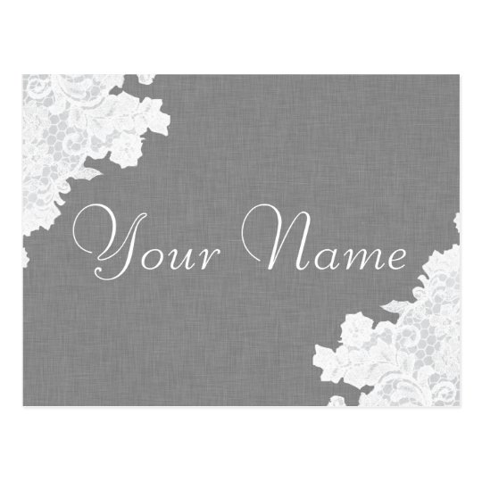 Grey Linen and Lace Notice Card