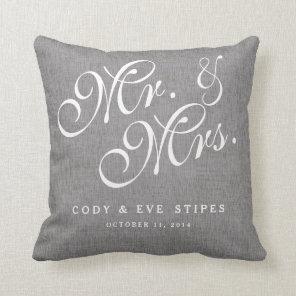 Grey Linen Initials Mr. and Mrs. Wedding Pillow