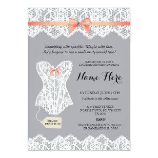 Grey Lingerie Shower Bridal Coral Corset Invites