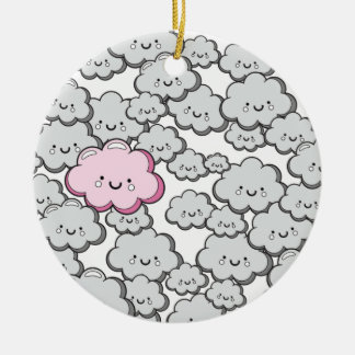 Grey Little Clouds Round Ceramic Decoration