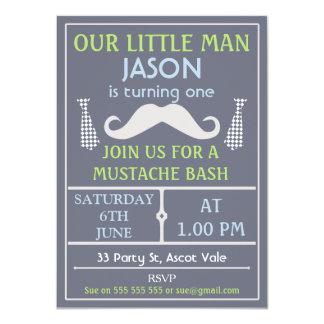 Grey Little Gentleman Mustache Birthday Invitation