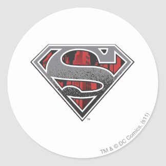 Grey Logo and Red City Round Sticker