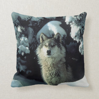 Grey Lone Wolf Lookout Cushion