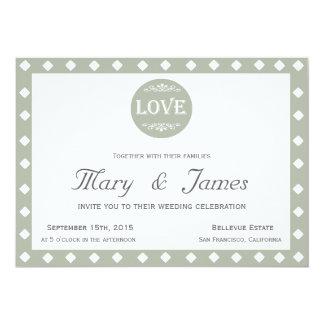 "GREY ""LOVE"" DESIGN & DIAMONDS (horizontal) 13 Cm X 18 Cm Invitation Card"
