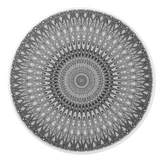 Grey mandala ceramic knob