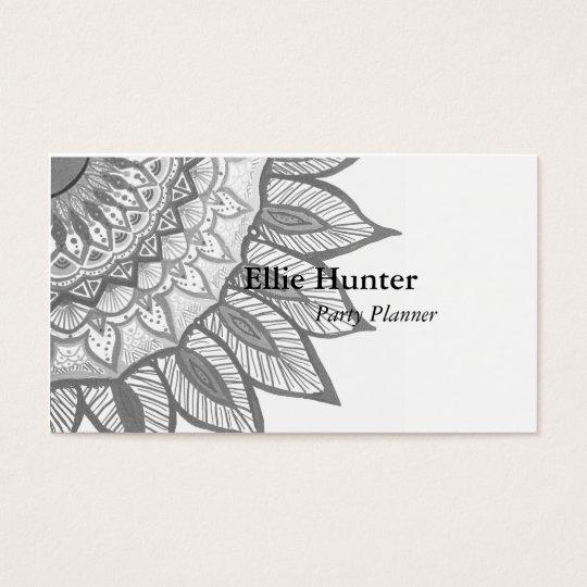 Grey Mandala Flower Custom Business Cards