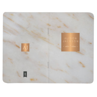 Grey marble gold steel copper metallic monogram journal