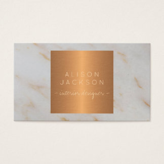 Grey marble metallic copper gold interior designer business card