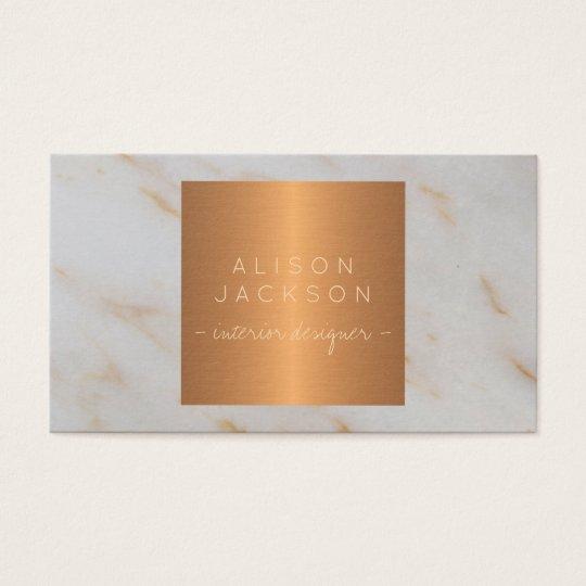 Grey marble metallic copper gold interior designer business