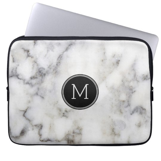 Grey Marble Stone Monogram Laptop Sleeve