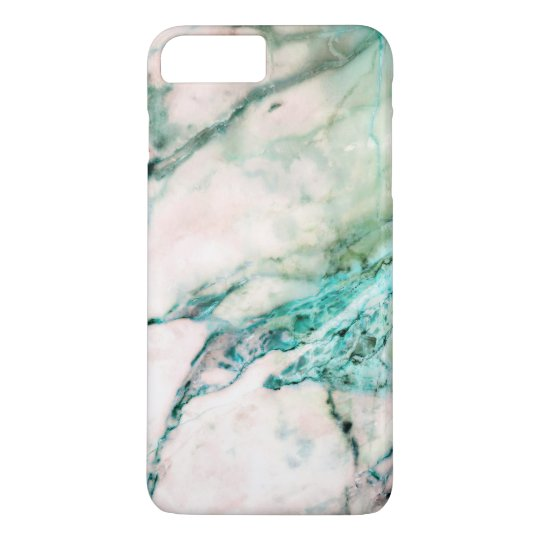 Grey Marble Texture With Green Accents iPhone 7 Plus Case