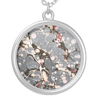Grey marbled paper silver plated necklace