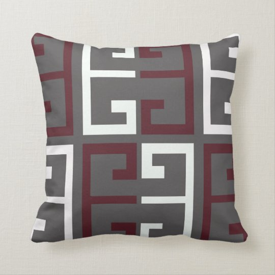 Grey, Maroon and White Tile Cushion