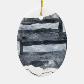 Grey matchsticks ceramic oval decoration