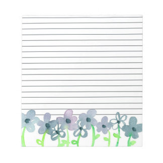 Grey Mauve Flowers Lined Notepad