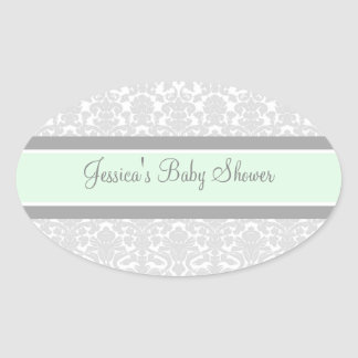 Grey Mint Damask Baby Shower Favor Stickers