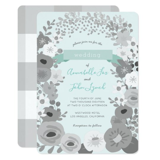 Grey Mint Green Floral Gingham Wedding Invitation