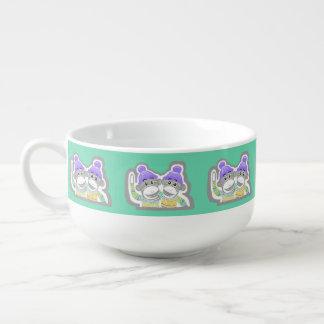 Grey, Mint, Purple Sock Monkeys Soup Mug