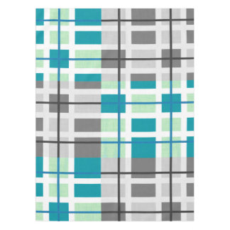 grey mint teal white geometric  tablecloth