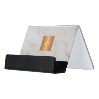 Grey modern marble metallic copper square monogram desk business card holder