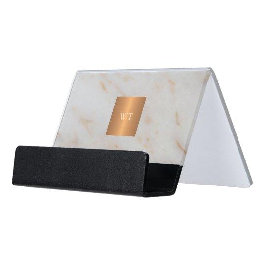 Grey modern marble metallic copper square monogram desk