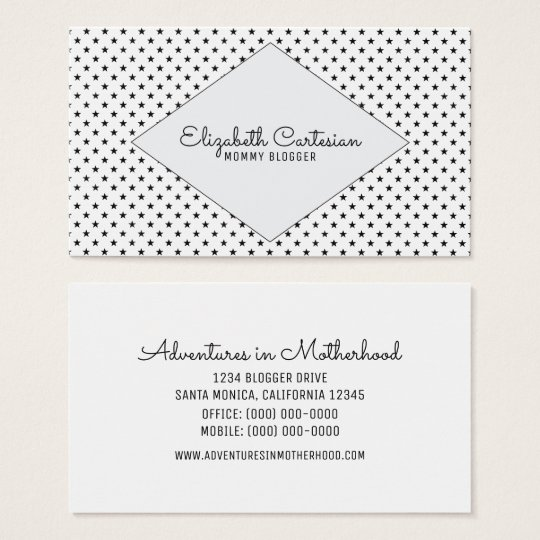 Grey Modern Stars Business Card