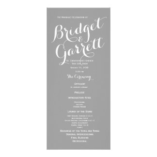 Grey Modern Text Wedding Program Rack Card