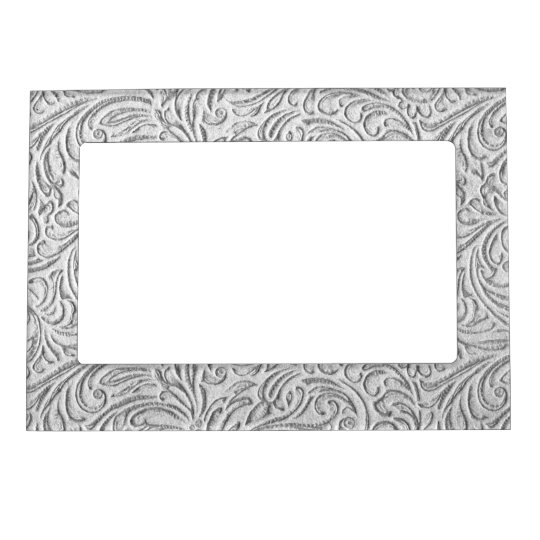 Grey Monochrome Vintage Floral Scrollwork Graphic Magnetic Picture Frame