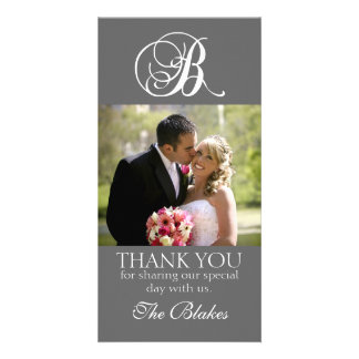 Grey Monogram B Wedding Thank You Photo Card