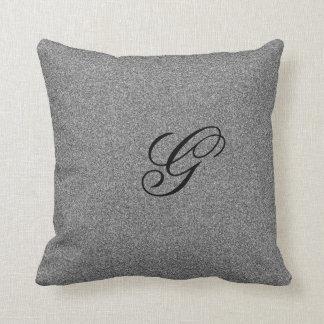 Grey monogram initial cushion