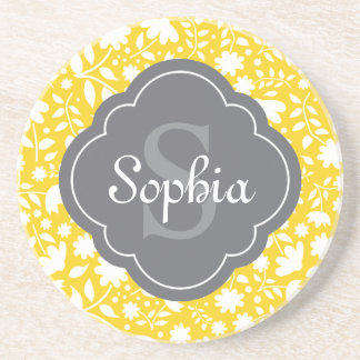 Grey Monogram Quatrefoil Yellow Floral Pattern Sandstone Coaster