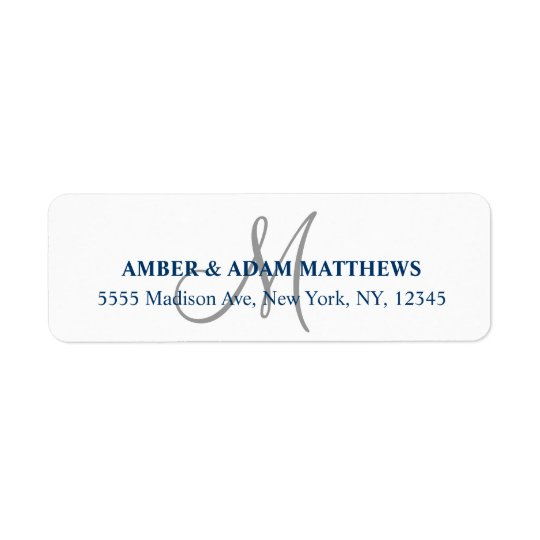 Grey Monogram Return Address Labels for Weddings