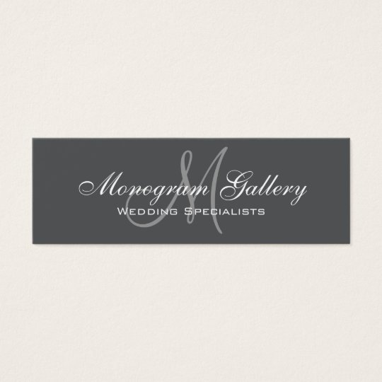 Grey Monogram Simple Customisable Mini Business Card