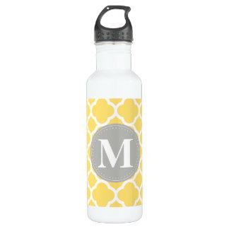 Grey Monogram Yellow Quatrefoil Pattern 710 Ml Water Bottle