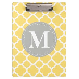 Grey Monogram Yellow Quatrefoil Pattern Clipboard
