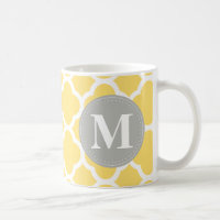 Grey Monogram Yellow Quatrefoil Pattern Coffee Mug