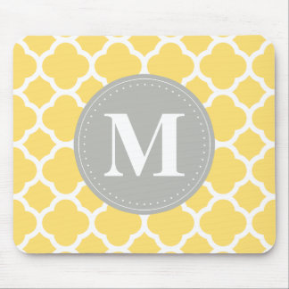 Grey Monogram Yellow Quatrefoil Pattern Mouse Mat