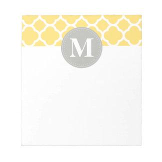 Grey Monogram Yellow Quatrefoil Pattern Notepad