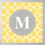 Grey Monogram Yellow Quatrefoil Pattern Poster