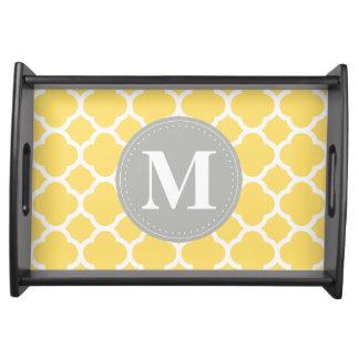 Grey Monogram Yellow Quatrefoil Pattern Serving Tray