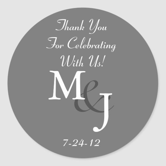 Grey Monogrammed Wedding Favour Gift Labels