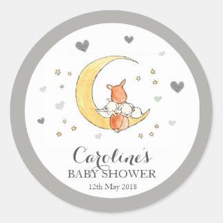Grey Moon Love Blue Baby Shower Sticker Round Sticker