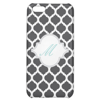 Grey Moroccan Pattern with Monogram iPhone 5 Cases